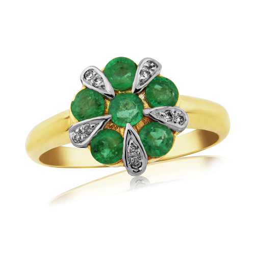 Emerald And Diamond 9 Carat Yellow Gold Cluster Ring DER340